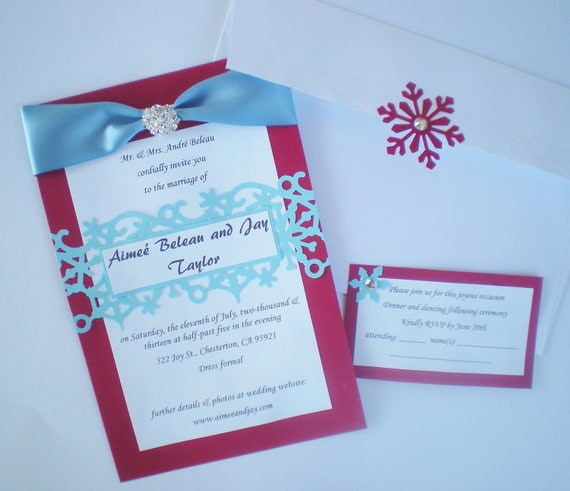 Christmas wedding invitation CUSTOM COLORS snowflake pattern, FREE pompoms on large orders, red blue