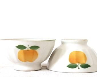 2 vintage french bowls Café au Lait yellow apple pattern - shabby chic. St Clement.