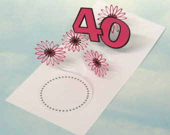 40th Birthday Card Flowers Spiral Pop Up 3D - Pink Flowers – 40th Birthday Spiral Pop Up Card