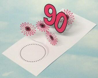 90th Birthday Card Flowers Spiral Pop Up 3D - Pink Flowers – 90th Birthday Spiral Pop Up Card