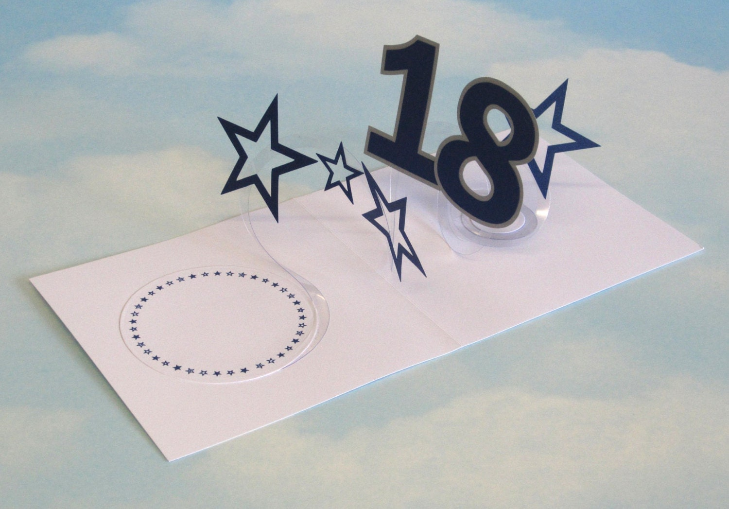 Handmade Birthday Cards For Guys 18 ~ Th birthday card spiral pop up d blue stars