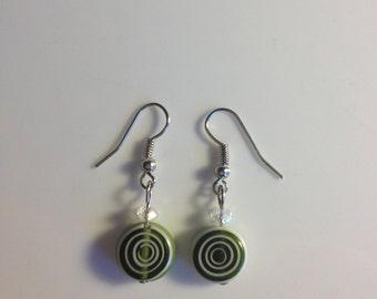 Dk green & white glass drop earrings