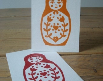 Cute Baboushka's - single cards with lino print