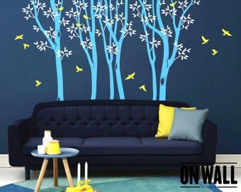 Large Spring birch tree decal, nursery decal, tree wall decal, 6 Birch Trees, Vinyl Tree Decals with  bird stickers MM003