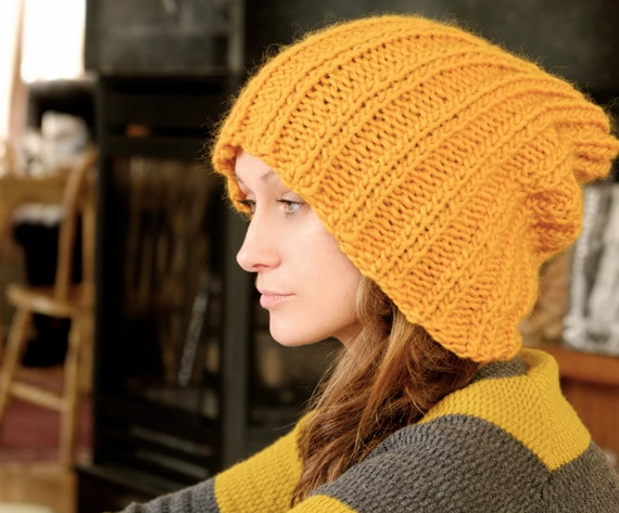 Mustard Yellow Slouchy Beanie Hat / Wool Wollen Knit  Women Teen Girls Accessories / Fashion Winter Accessories / Hipster Hat