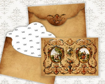 ANTIQUE - Printable Download Digital Collage Sheet Envelope with print on reverse side - Print and Cut