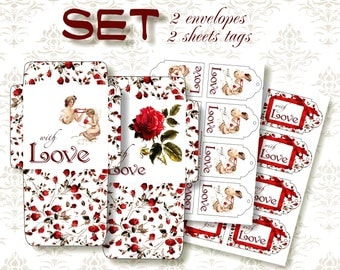 WITH LOVE - SET 4 sheets: 2 envelopes, 2 gift tags - Printable Download Digital Collage Sheets - Download and Print