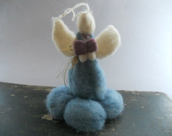 Vintage handmade felt angel ornament Large felted angel Hanging angel ornament Christmas tree angel ornament