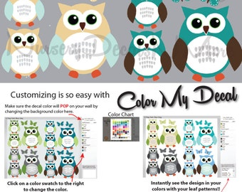 Nursery Wall Decals for Babys, Owl Stickers, Owl Decals (12 Teal) 12ROO