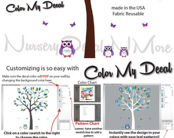Girl Tree Decals with Owls, Owl Decals, Tree Stickers (Sm Tree, Reg Owl Set Purple Green) SOT