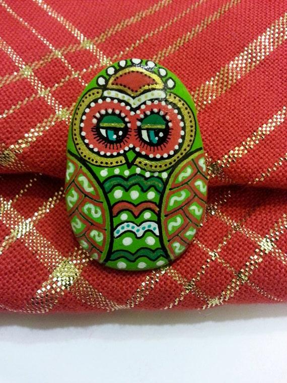 Owl Owl Peint La Main Les Galets Peints La Main