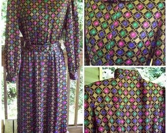 Vintage Talbots Dress / Vintage Secretary Dress / Pleated Skirt / Pantone Acai / Pantone Vivacious
