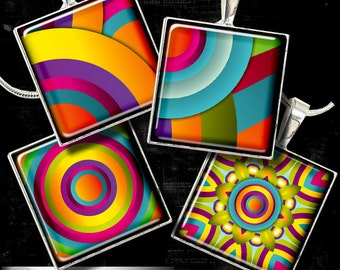 """Rainbow Celebration - 1""""x1"""" tiles - Digital Collage Sheet CG-683S for Jewelry, Crafts"""