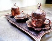 Copper Turkish Coffee Espresso Set, serving plate tray with 2 coffee mugs 1 sugar bowl Ornate Floral tulip Details.