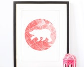 Polar Bear - Watercolor Geometric Print - Geometric Art Print - Wall Art - Coral Black and White Digital Housewarming gift Minimalist Art - MpressPrints