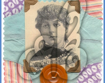 Digital Collage Image of Real Photo of a Woman Surrounded by Patchwork Fabric and a Vintage Button