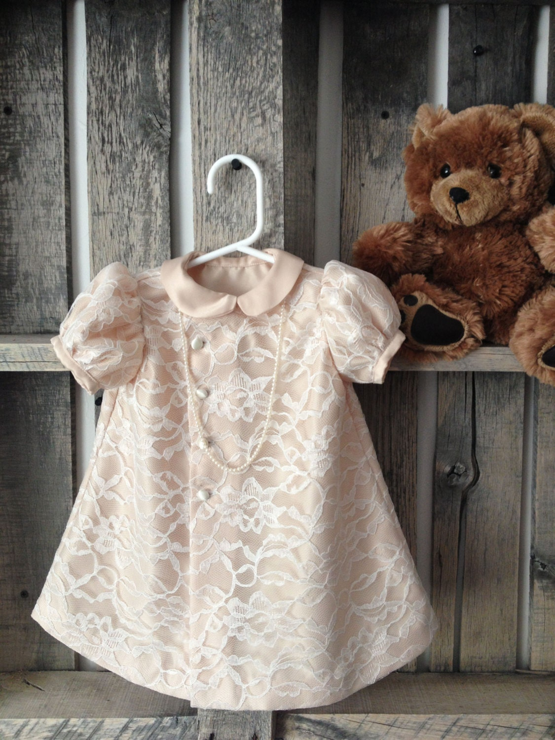 Ivory Cream Lace Baby Girl Dress by CustomCreationsMandy