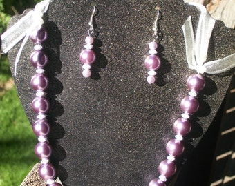 """20""""-23"""" Purple Pearl Necklace and Earring Set"""