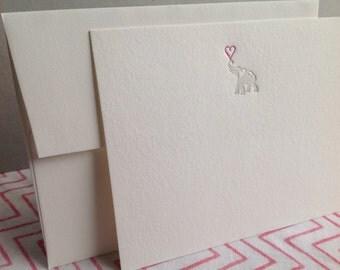 Set of 5 letterpress cards & envelopes - elephant
