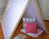 Kids A-Frame tent play pretend wooden with designer fabric custom made to order