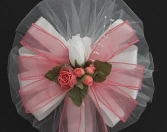 White Rosebud Coral Wedding Pew Bow - Church Pew Decorations, Wedding Aisle Decorations, Wedding Ceremony Bow, Wedding Chair Bows