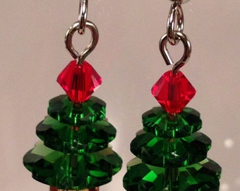 Sparkling Green and Red Swarovski Crystal Christmas Tree Earrings (small)
