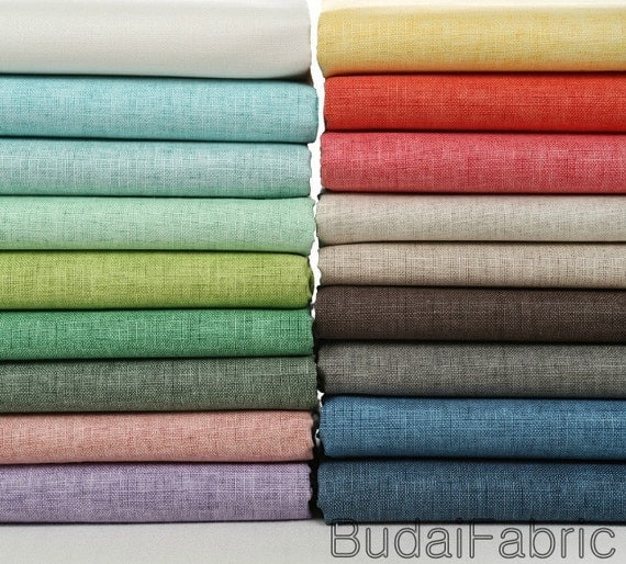 Solid Color Wax Coating Linen Fabric By The Yard Cotton Fabric