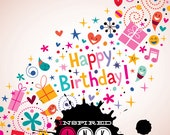 Happy Birthday 5ft x 5ft Photography Backdrop, Birthday Photo Backdrop, Photo Booth Backdrop, ADDTL SIZES AVAILABLE! {bir7}