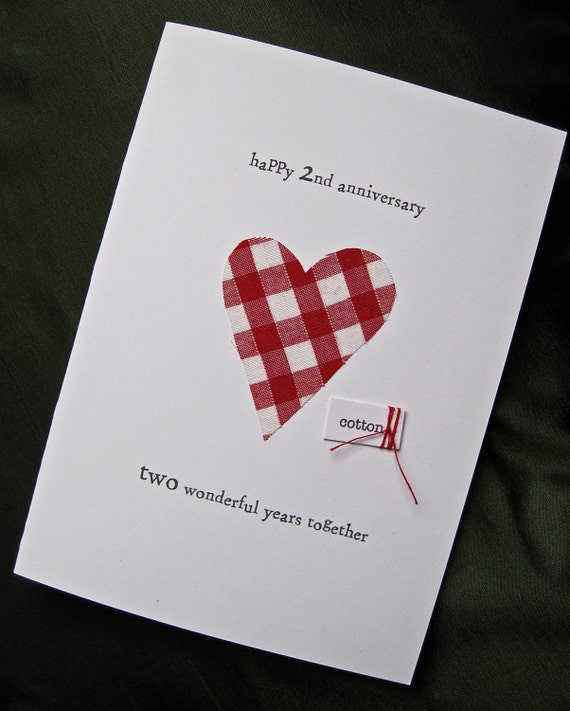 Second Wedding Anniversary: 2nd Wedding Anniversary Keepsake Card Cotton By ArtBySeezal