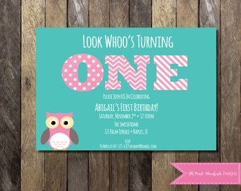 Owl First Birthday Invitation, Owl Birthday Invitation, First Birthday Invitation, Printable Invitation, Owl Invitation, Pink, Owl, Aqua