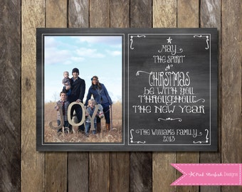 Chalkboard Christmas Card, Holiday Card, Photo Christmas Card, Christmas Card, Chalkboard, Chalkboard Holiday Christmas Card, Modern Card