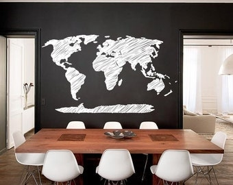 Hand write map decal of the world 94.5'' W map wall decal