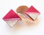 Pink and Silver Leather Earrings, Leather Stud Earrings, Square Leather Stud, Geometric Shape Modern Earrings, Rocker Style Earrings