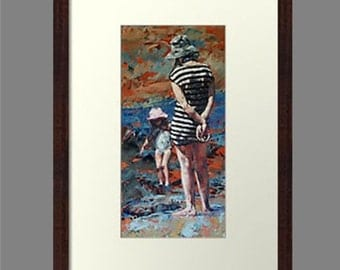 Framed art, print, original, impressionist, oil, painting,'Mother & Daughter'.Quality Timber Frame.Ready To Hang.