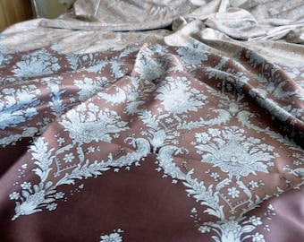 Twin / Twin XL Duvet Cover Brown Damask Pattern Cotton Satin Dorm Bedding Quilt Cover Home Decor
