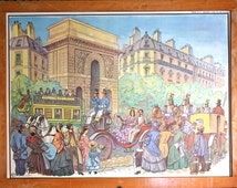 NAPOLEON III - Vintage - Large French School Poster - double-sided . Taking the smala - Napoleon III in the streets of Paris