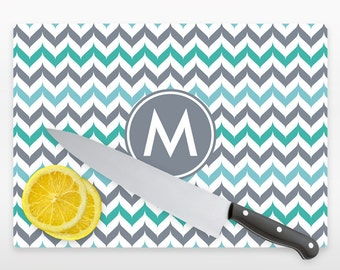 Personalized Fancy Chevron Glass Cutting Board Personalized With  Initials or Name YOU CHOOSE COLOR