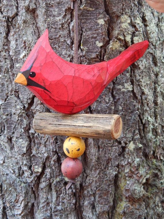 Items similar to hand carved bird cardinal ornament