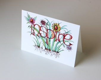 Inspire Blank Greeting Card • Inspiration • Creativity • Watercolor • Floral