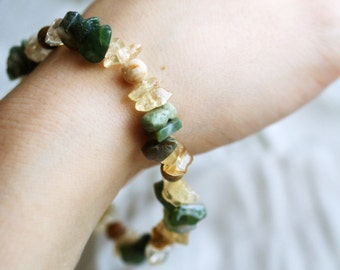 Earthy Green and Amber-White Gemstone Bracelet