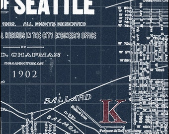 Seattle Map, Map of Seattle, Blueprint Map, Pacific North West, Seattle,  Vintage Map 1902