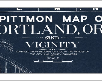Porland Oregon Map, Portland Map, Blueprint Map of Portland, Portland Skyline, Portland print, 1946