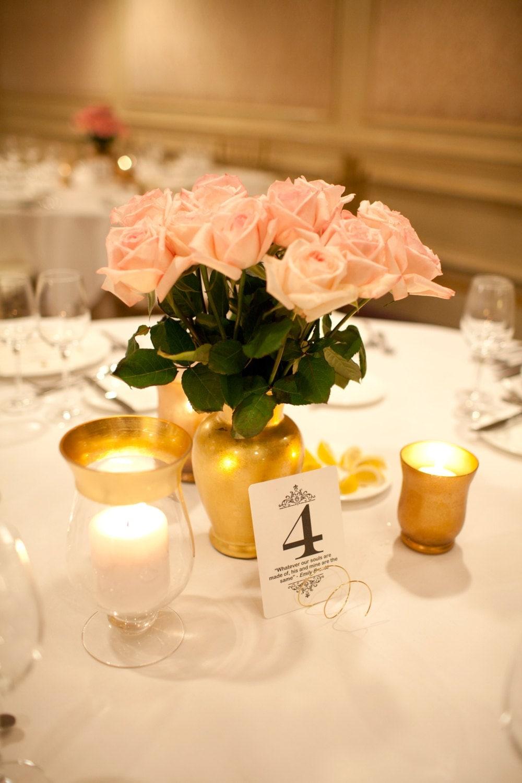 Metallic yellow gold vase wedding centerpiece floral