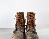 vintage work boots  -  mens leather lace ups