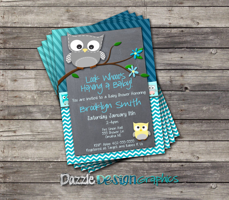Printable Blue Chevron Stripes Owl Baby Shower Invitation