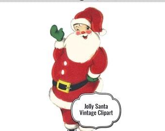 Items similar to Vintage Pointy Hat Santa - Santa Clipart ...