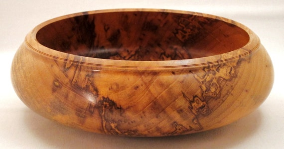 Spalted hackberry wooden bowl wood centerpiece lathe