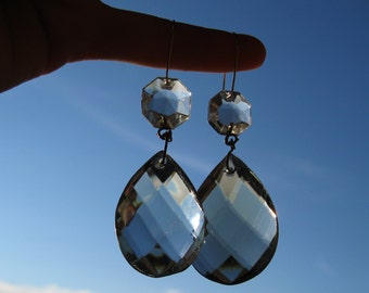 50% OFF! - Something Old, Something New - asymmetrical smoked crystal bridal earrings #16