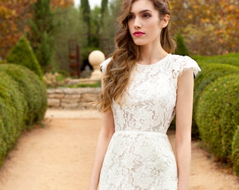 Lilyan White Vintage Backless  Inspired Lace Dress