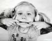 Custom Portrait drawing 8 x10 photo realistic style, graphite & charcoal